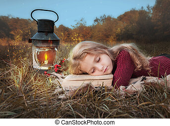 わずかしか, 本, 森林, 女の子, 睡眠