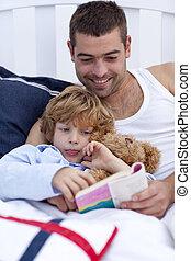 わずかしか, 本, 父, 読書, 男の子, 彼の