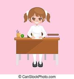 わずかしか, 概念, モデル, 本, ノート, 学校, 背中, 勉強, テーブル, 女の子