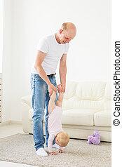 わずかしか, 概念, 父, 家族, -, 親であること, 父性, 赤ん坊, 家, 女の子, 遊び, 幸せ