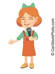 わずかしか, 歌うこと, microphone., 女の子, コーカサス人