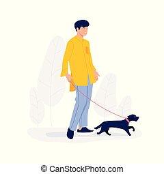 わずかしか, 歩くこと, イラスト, 犬, ベクトル, 人