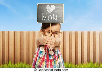 わずかしか, 母の日, 黒板, 保有物, 女の子, アジア人, メッセージ, 幸せ