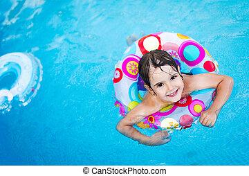 わずかしか, 浮き, 女の子, リング, プール, 水泳