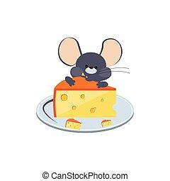 わずかしか, 灰色, マウス, かむ, チーズ, 上に, a, プレート。, ベクトル, イラスト