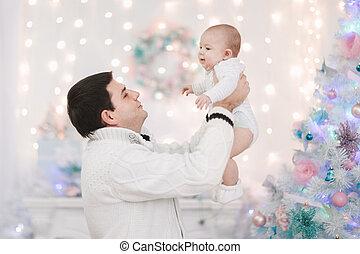 わずかしか, 父, 息子, 背景, クリスマス, 幸せ
