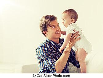 わずかしか, 父, 若い, 赤ん坊, 家, 幸せ