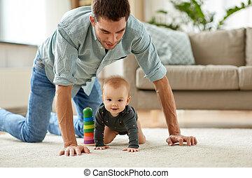 わずかしか, 父, 赤ん坊, 家, 女の子, 幸せ