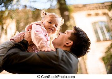 わずかしか, 父, 遊び, 腕, 保有物, 娘, 彼女