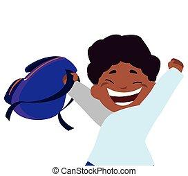 わずかしか, 特徴, schoolbag, 黒, 男生徒, 幸せ