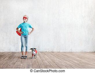 わずかしか, 犬, 女の子の微笑