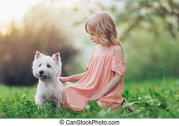 わずかしか, 犬, 女の子, 屋外で