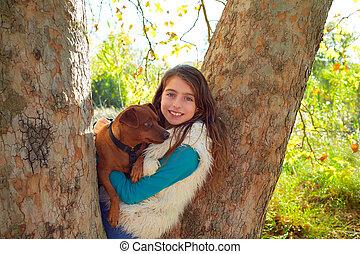 わずかしか, 犬, 女の子, 森林
