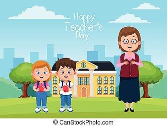 わずかしか, 生徒, りんご, 現場, 子供, 教師, 学校
