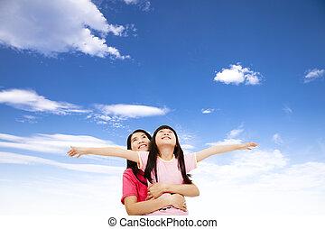 わずかしか, 監視, 空, 母, 女の子, 幸せ