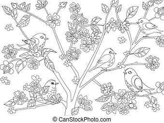 わずかしか, 着色, 花, 桜の木, 鳥, あなたの, ページ