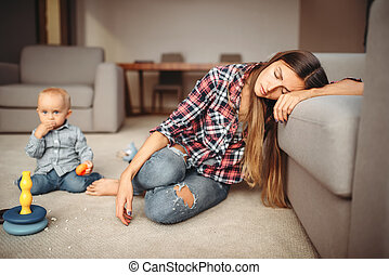 わずかしか, 睡眠, 床, 母親遊び, 子供