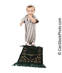 わずかしか, 祈ること, いかに, 伝統的である, 方法, muslim, 子供, thinkig