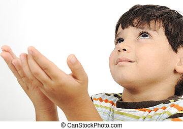 わずかしか, 祈ること, 伝統的である, 方法, muslim, 子供