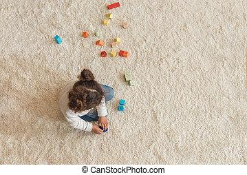 わずかしか, 立方体, 間接費, 家, 女の子, 遊び, 光景
