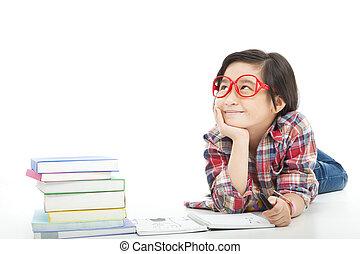 わずかしか, 考え, アジア人, の間, 女の子, 宿題, 準備