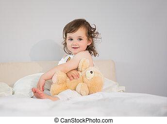 わずかしか, 肖像画, 女の子, かわいい, ベッド, モデル