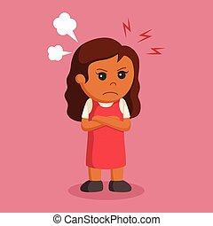 わずかしか, 表現, 怒る, 女の子, アフリカ