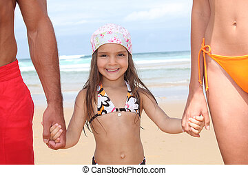 わずかしか, 親, 女の子, 海