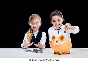 わずかしか, 計算, モデル, お金, 女の子, 黒, 肖像画, テーブル