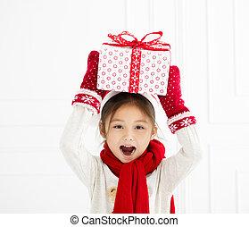 わずかしか, 贈り物, 提示, 女の子, クリスマス, 幸せ