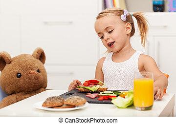 わずかしか, 軽食, 彼女, モデル, 健康, 熊, おもちゃ, テーブル, 女の子, 持つこと