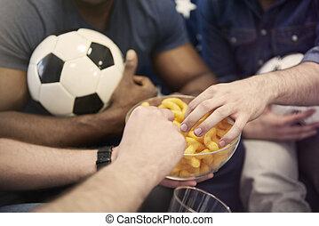わずかしか, 軽食, 食べること, フットボール, の間, マッチ