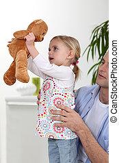 わずかしか, 遊び, 女の子, 熊, テディ