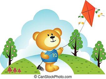 わずかしか, 遊び, 熊, 凧