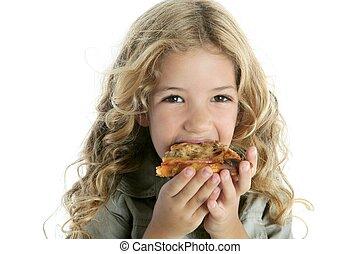 わずかしか, 食べること, 女の子, ピザ