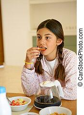 わずかしか, 食べること, 女の子, 朝食
