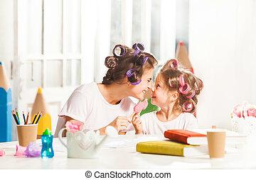 わずかしか, 食べること, 彼女, モデル, 氷, 母, 女の子, クリーム