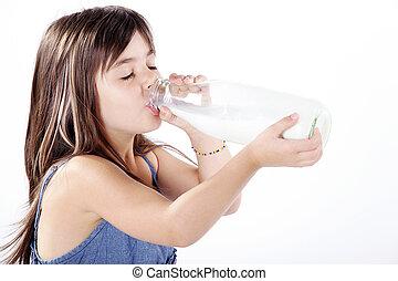 わずかしか, 飲むこと, 女の子, ミルク