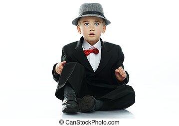 わずかしか, 黒いスーツ, 背景, 隔離された, 男の子, 帽子, 白