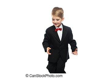 わずかしか, 黒いスーツ, 背景, 隔離された, 男の子, 白