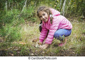わずかしか, 2, 秋の森林, 見いだされた, 女の子, boletus.