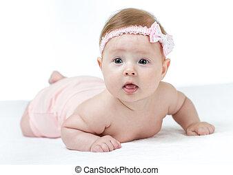 わずかしか, 4, 月, 女の赤ん坊, あること, 隔離された, 白