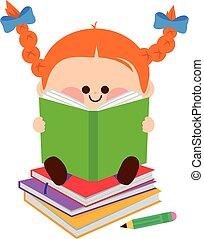わずかしか, books., イラスト, ベクトル, 女の子の読書