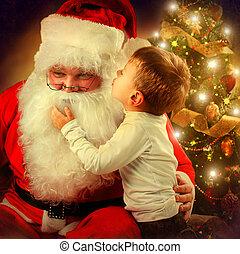 わずかしか, claus, boy., 現場, santa, クリスマス