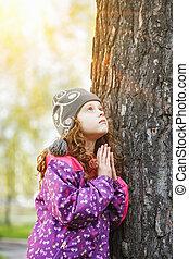 。, わずかしか, concept., 平和, 見る, 世界, 女の子, 祈ること, 幼年時代, 幸せ