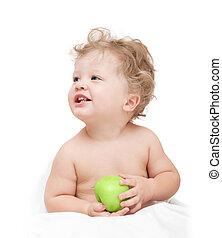 わずかしか, curly-headed, 子供, 保有物, a, 緑のリンゴ, 白, backgro