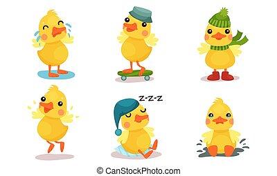 わずかしか, duckling., 漫画, ベクトル, illustration., 黄色, humanized