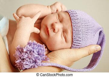 わずかしか, father., 生まれたての赤ん坊, 手, 母, 親