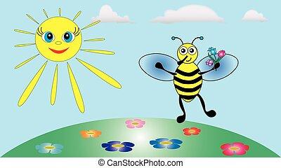 わずかしか, paws., 花束, 蜂, 陽気, もつ, 花, ∥そ∥