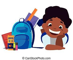 わずかしか, schoolbag, 黒, 供給, 男生徒, 幸せ
